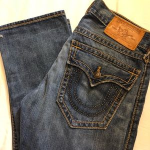 TRUE RELIGION Ricky seat 34 Distressed Mens Jeans